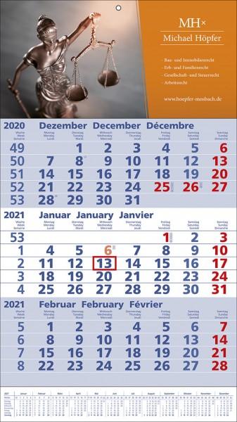 3-Monats-Wandkalender Standard 1 Plus int b