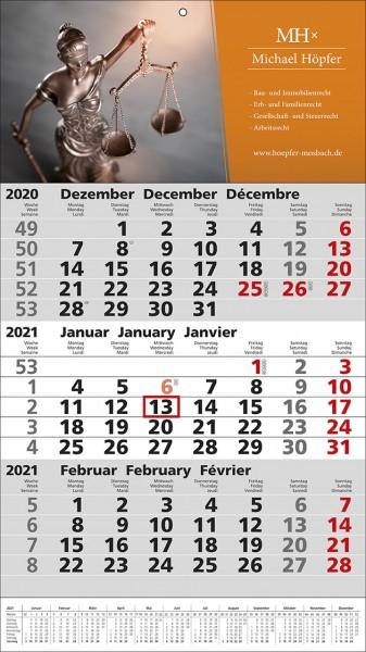 3-Monats-Wandkalender Standard 1 Plus int