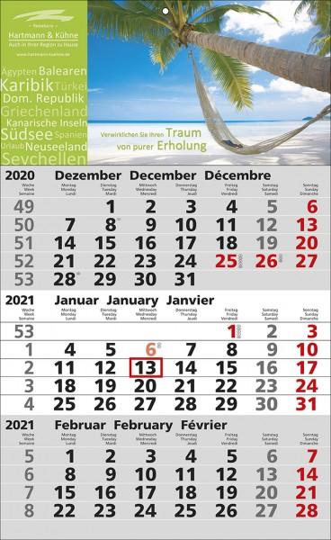 3-Monats-Wandkalender Standard 2