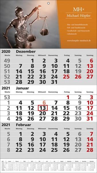 3-Monats-Wandkalender Standard 1 Plus