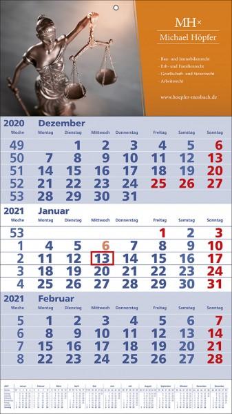 3-Monats-Wandkalender Standard 1 Plus b