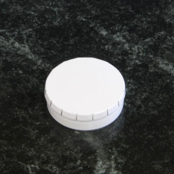 Mintdose rund Klickdeckel Musterdruck Weiß